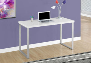 "Monarch Specialties 48""L Contemporary Computer Desk - White, Silver Metal"