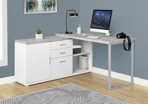 "Monarch Specialties Computer Desk - 60""L White / Cement-Look Left/Right Face"