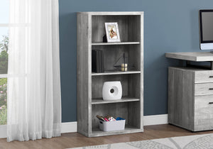 Monarch Specialties Bookcase - Sturdy Etagere with 3 Adjustable Book Shelves - 48 H (Grey)