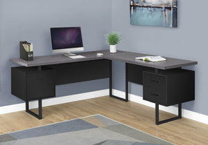 "Monarch Specialties Computer Desk L-Shaped Corner Desk with Drawers on Both Sides - Left or Right Facing - 70"" L (Black - Grey Top)"