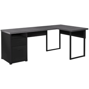 "Monarch Specialties Computer Desk L-Shaped Corner Desk with File Cabinet - Left or Right Set- Up - 80"" L (Black - Grey Top)"