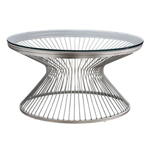 "Monarch Specialties 36"" Round Cocktail Accent Metal Curved Steel Rods Wire Base for Living Room Coffee Table - Clear"