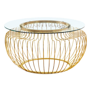 "Monarch Specialties 36"" Round Cocktail Accent Metal Curved Wire Base for Living Room Coffee Table - Clear"