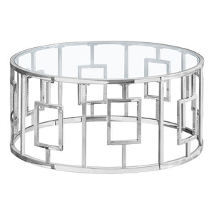 "Monarch Specialties 36"" Round Cocktail Accent Metal Geometric Base for Living Room Coffee Table - Clear"