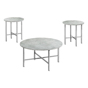 Monarch Specialties Coffee Set of 3 for Living Room Round Table Set - Grey