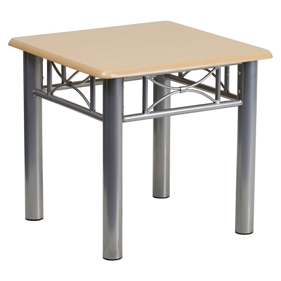 Flash Furniture Natural Laminate End Table with Silver Steel Frame [JB-6-END-NAT-GG]