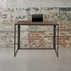 "Flash Furniture 40""W Rustic Home Office Portable Folding Computer Desk with Black Powder Coated Frame - Natural"