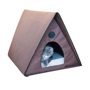 "K&H Pet Products Outdoor Kitty A-Frame Chocolate 35"" x 20.5\"" x 20\"" (unheated)"