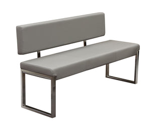 Knox Bench with Back & Stainless Steel Frame - Grey