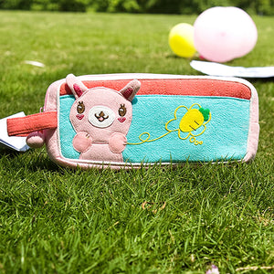 [Rabbit & Carrot] Embroidered Applique Pencil Pouch Bag / Cosmetic Bag / Carrying Case (7.3x3.3x1.4)