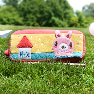 [Rabbit's Home] Embroidered Applique Pencil Pouch Bag / Cosmetic Bag / Carrying Case (7.5x2.8x1.4)
