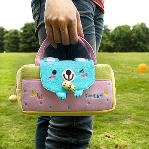 [Sweet Bear] Embroidered Applique Kids Mini Handbag / Cosmetic Bag / Travel Wallet (7.8x5.5x1.4)