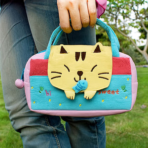 [Sweet Cat] Embroidered Applique Kids Mini Handbag / Cosmetic Bag / Travel Wallet (7.8x5.5x1.4)