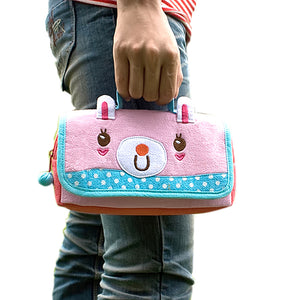 [Pink Rabbit] Embroidered Applique Pencil Pouch Bag / Cosmetic Bag / Carrying Case (7.9x4.3x1.4)