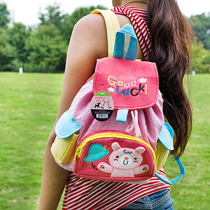 [Pink Rabbit] Embroidered Applique Kids Fabric Art School Backpack / Outdoor Backpack (8.7x10.2x4.3)