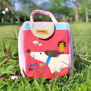 [Go For A Walk] Embroidered Applique Cosmetic Bag / Camera bag / Hand Purse Wallet (4.9x4.7x2)