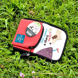 [Short Walk] Embroidered Applique Fabric Art Trifold Wallet Purse / Card Holder (4.7x3.1)