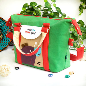 [Purple Bear - Green] Embroidered Applique Duffle Tote Bag / Shoulder Bag / Travel Bag (9.6x9.3x4.1)