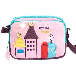 [Morning Tweet] Embroidered Applique Swingpack Bag Purse / Wallet Bag / Shoulder Bag (7.1x5.3x3.7)