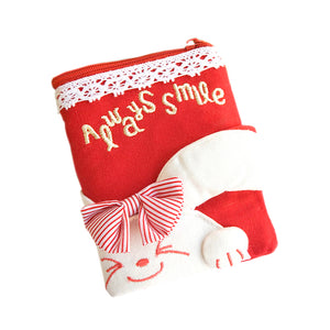 [Always Smile Bunny] Embroidered Applique Fabric Art Wallet Purse / Card Holder / ID Holder(4.7x3.3)