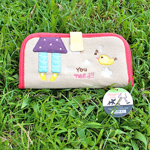 [All You Need] Embroidered Applique Fabric Art Wallet Purse / Card Holder / ID Holder (7.1x3.7)