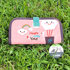 [Happy With You] Embroidered Applique Fabric Art Wallet Purse / Card Holder / ID Holder (7.1x3.7)