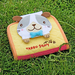 [Tarro story - Dog] Embroidered Applique Fabric Art Wallet Purse / Card Holder (4.9x3.9)