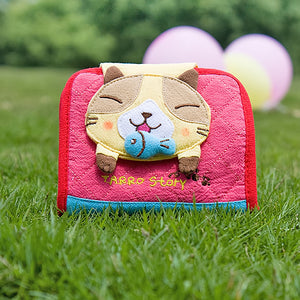 [Tarro story - Yellow Cat] Embroidered Applique Fabric Art Wallet Purse / Card Holder (4.9x3.9)