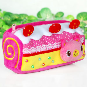 [Pink Cake] Embroidered Applique Pencil Pouch Bag / Pencil Holder / Carrying Case (3.5x2.5x2.5)