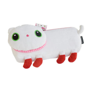 [White Kitty] Large Plush Gadget Pencil Pouch Bag / Cosmetic Bag / Carrying Case (7.9x3.1x1.5)