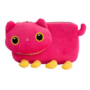[Pink Kitty] Medium Plush Gadget Cosmetic Bag / Camera bag / Hand Purse Wallet (6.1x3.5x1.5)
