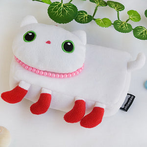 [White Kitty] Medium Plush Gadget Cosmetic Bag / Camera bag / Hand Purse Wallet (6.1x3.5x1.5)