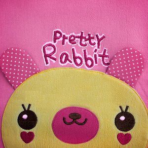 [Pretty Rabbit] Embroidered Applique Kids Fabric Art Tote Bag / Shopper Bag (9.5x10.6x2.1)