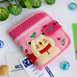 [Yellow Bear] Embroidered Applique Fabric Art Wallet Purse / Card Holder (4.7x3.7)