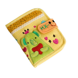 [Green Elephant] Embroidered Applique Fabric Art Wallet Purse / Card Holder (4.7x3.7)