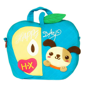 [Lucky Dog] Embroidered Applique Kids Fabric Art School Backpack / Outdoor Backpack (9.2x8.8x2.3)
