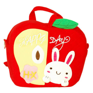 [Lucky Rabbit] Embroidered Applique Kids Fabric Art School Backpack / Outdoor Backpack (9.2x8.8x2.3)