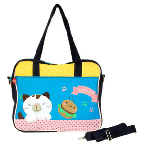 [Pretty Kitten] Embroidered Applique Fabric Art Shoulder Tote Bag / Swingpack Bag (13.4x11.6x2.7)