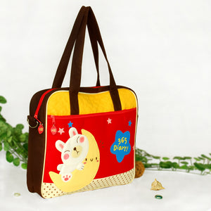 [Moon Rabbit] Embroidered Applique Fabric Art Shoulder Tote Bag / Swingpack Bag (13.4x11.6x2.7)