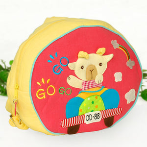 [Sweet Sheep] Embroidered Applique Kids Fabric Art School Backpack / Outdoor Backpack (9.6x8.3x2.7)