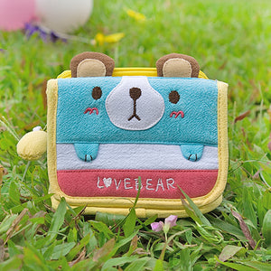 [Love Bear] Embroidered Applique Fabric Art Trifold Wallet Purse / Card Holder (4.5x3.5)