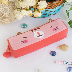 [Pinky Kitten] Embroidered Applique Pencil Pouch Bag / Cosmetic Bag / Carrying Case (7.3x1.8x1.9)
