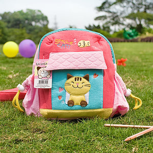 [Smile Cat] Embroidered Applique Kids School Backpack / Outdoor Backpack (7.9x8.7x2.4)