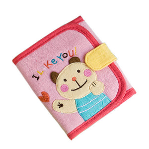 [I Like You] Embroidered Applique Fabric Art Trifold Wallet Purse / Card Holder (4.7x4.3)