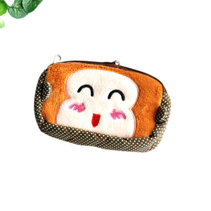 [Happy Monkey] Embroidered Applique Fabric Art Wallet Purse/ Pouch Bag(5.9x3.7x1.1 inches)