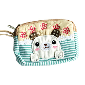 [Cute Dog] Embroidered Applique Fabric Art Wallet Purse/ Pouch Bag (5.1x3.9x1.1 inches)