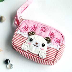 [Sweet Dog] Embroidered Applique Fabric Art Wallet Purse/ Pouch Bag (5.1x3.9x1.1 inches)