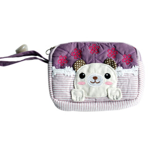 [Pretty Dog] Embroidered Applique Fabric Art Wallet Purse/ Pouch Bag (5.1x3.9x1.1 inches)
