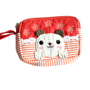 [Energetic Dog] Embroidered Applique Fabric Art Wallet Purse/ Pouch Bag (5.1x3.9x1.1 inches)