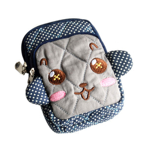[Vivid Monkey] Embroidered Applique Fabric Art Wallet Purse/ Pouch Bag (2.9x4.7x0.98 inches)